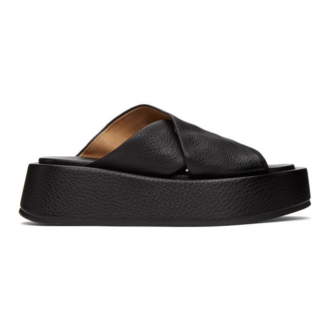 Marsèll Cross Strap Platform Sandals In 666 Black