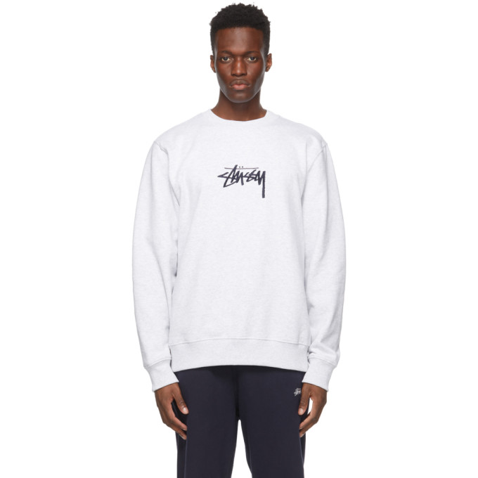 Stussy Cottons STUSSY GREY EMBROIDERED STOCK SWEATSHIRT