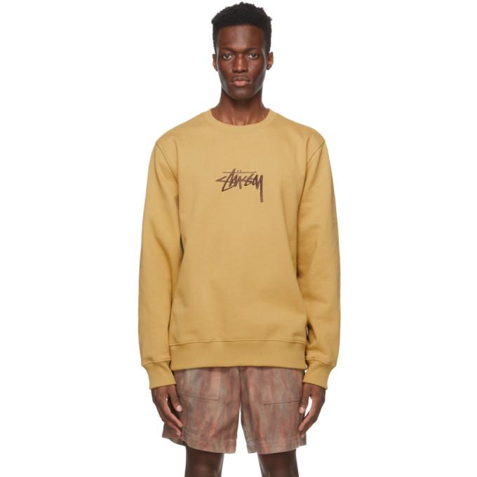 Stussy Sweaters STUSSY KHAKI EMBROIDERED STOCK SWEATSHIRT