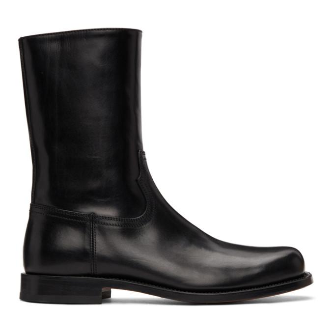 Dries Van Noten Boots DRIES VAN NOTEN BLACK LEATHER ZIP-UP BOOTS