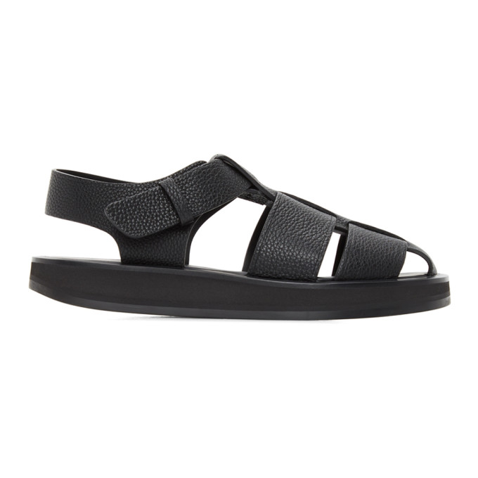The Row Leathers THE ROW BLACK LEATHER FISHERMAN SANDALS