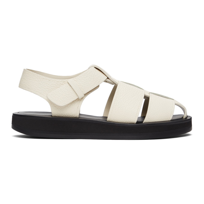 The Row Sandals THE ROW OFF-WHITE LEATHER FISHERMAN FLAT SANDALS