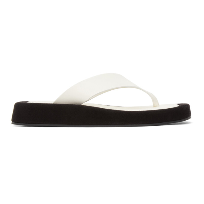 The Row Ginza Two-tone Leather And Suede Platform Flip Flops In White
