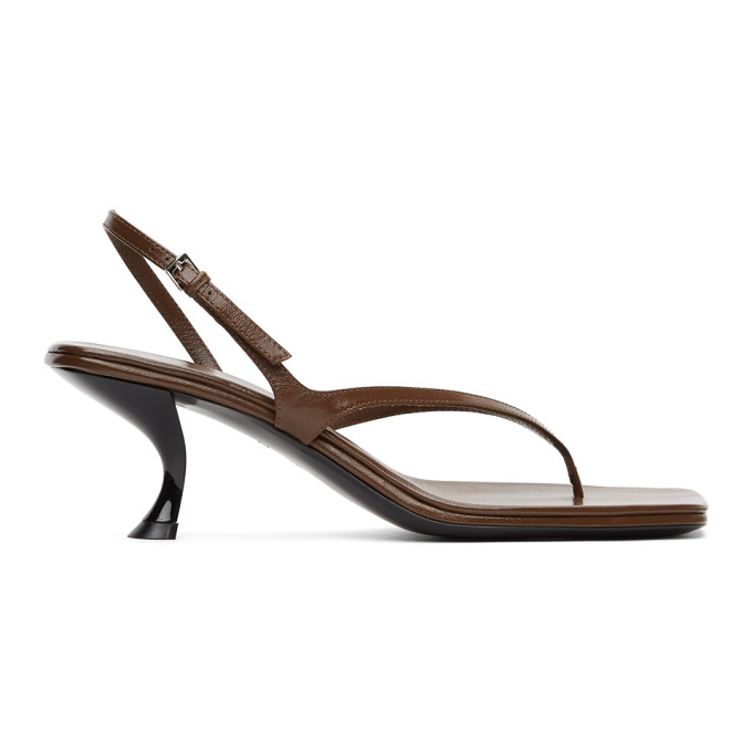 The Row Leathers THE ROW BROWN CONSTANCE HEELED SANDALS