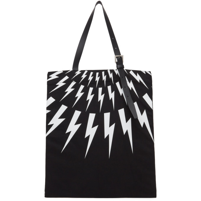 Neil Barrett NEIL BARRETT BLACK FAIR-ISLE THUNDERBOLT TOTE