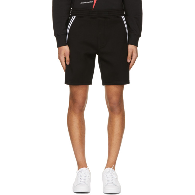 Neil Barrett NEIL BARRETT BLACK VARSITY SWEAT SHORTS