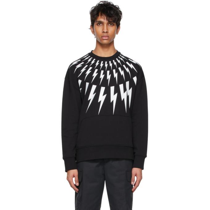 Neil Barrett Sweatshirts NEIL BARRETT BLACK AND WHITE FAIR-ISLE THUNDERBOLT SWEATSHIRT