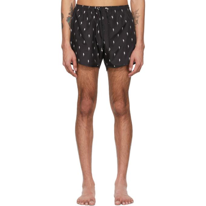 Neil Barrett Thunderbolt Print Nylon Swim Shorts In Black In 524 Black/white