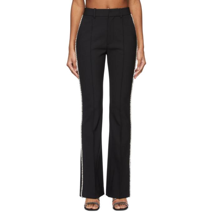 Area Crystal Embellished Flare Leg Cotton Track Pants In Black
