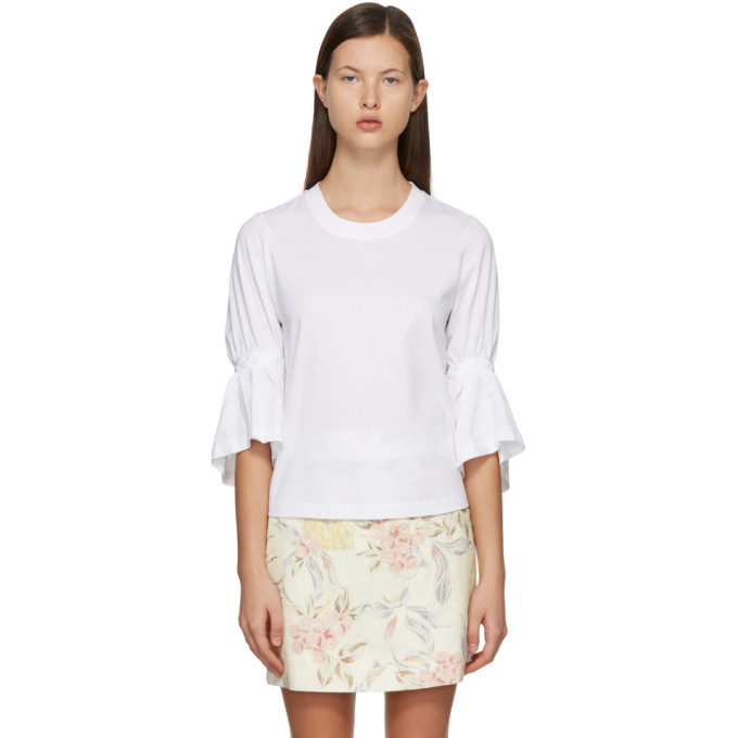 See By Chloé SEE BY CHLOE WHITE BRAIDED T-SHIRT
