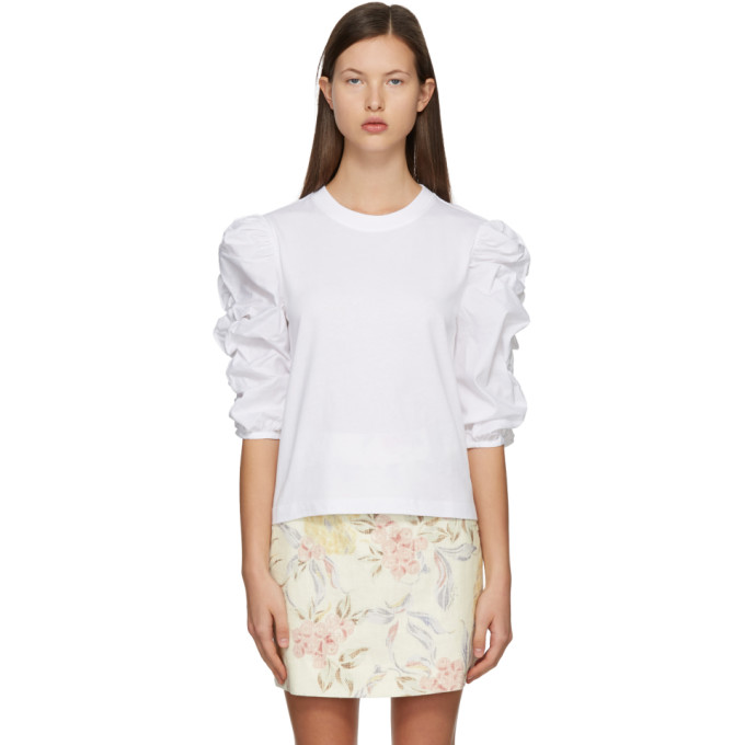 See By Chloé SEE BY CHLOE WHITE PUFFY SLEEVE T-SHIRT