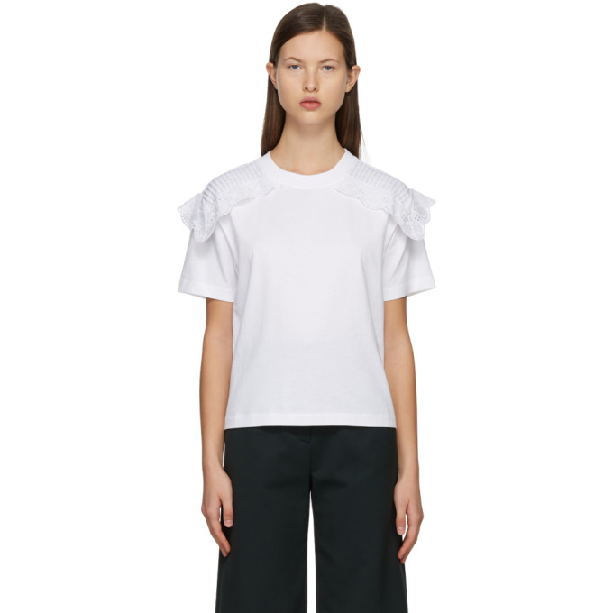 See By Chloé SEE BY CHLOE WHITE LACE EMBELLISHED T-SHIRT