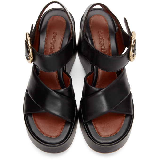 SEE BY CHLOÉ Leathers SEE BY CHLOE BLACK LEATHER LYNA WEDGE SANDALS