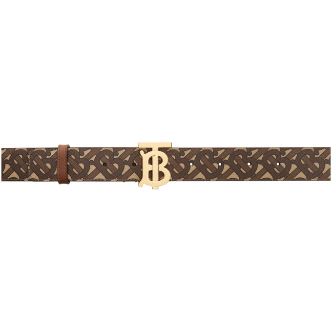 Burberry BURBERRY BEIGE AND BROWN E-CANVAS TB MONOGRAM BELT