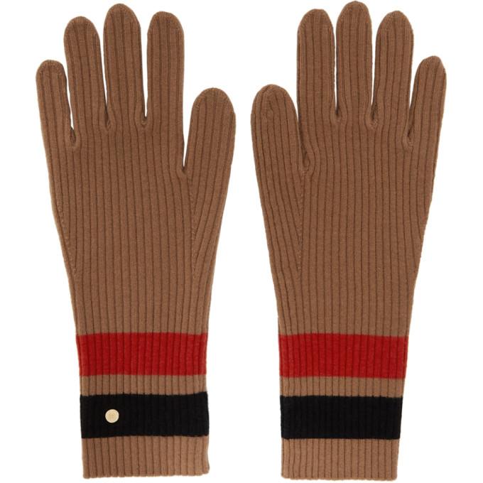Burberry Gloves BURBERRY TAN MERINO MONOGRAM GLOVES