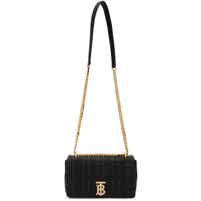 Burberry Women's Small Lola Tb Quilted Leather Shoulder Bag In Black/black