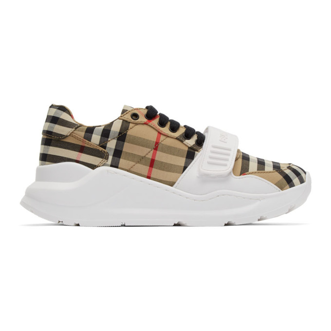 Burberry Regis Checked Cotton-canvas Sneakers In Beige