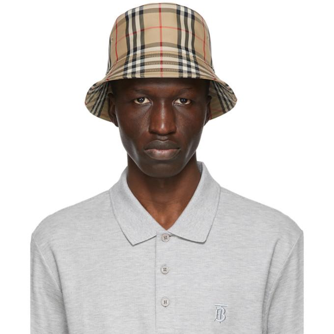 Burberry BURBERRY BEIGE CHECK BUCKET HAT