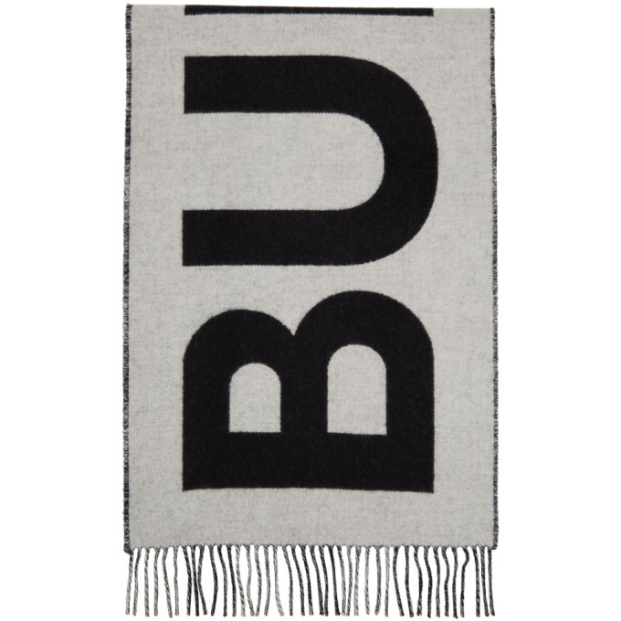 Burberry Foulard en cachemire noir et blanc Mega Check Logo