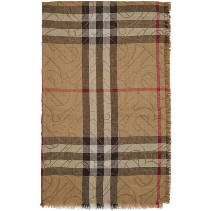 Burberry Foulard en gaze beige Vintage Check Metallic Monogram