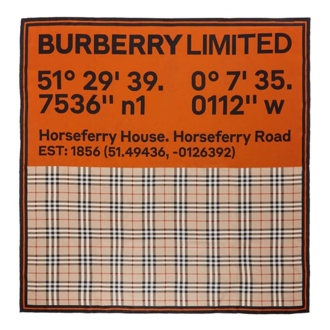 Burberry Foulard en soie beige et orange Double Print Logo