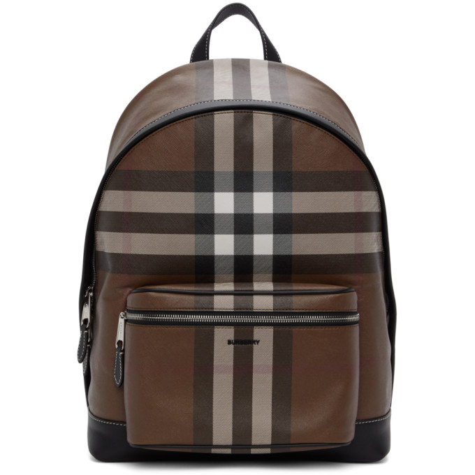 Burberry Leather-trimmed Checked Coated-canvas Backpack In Dark Birch