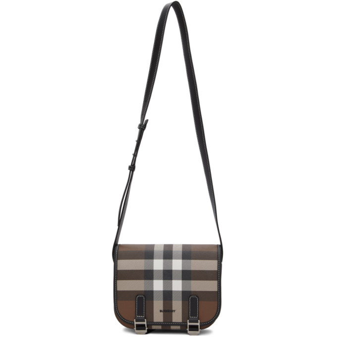 Burberry Check E-canvas Messenger Bag In Dark Birch