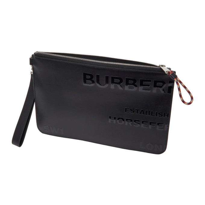 BURBERRY Bags BURBERRY BLACK HORSEFERRY PRINT ZIP POUCH