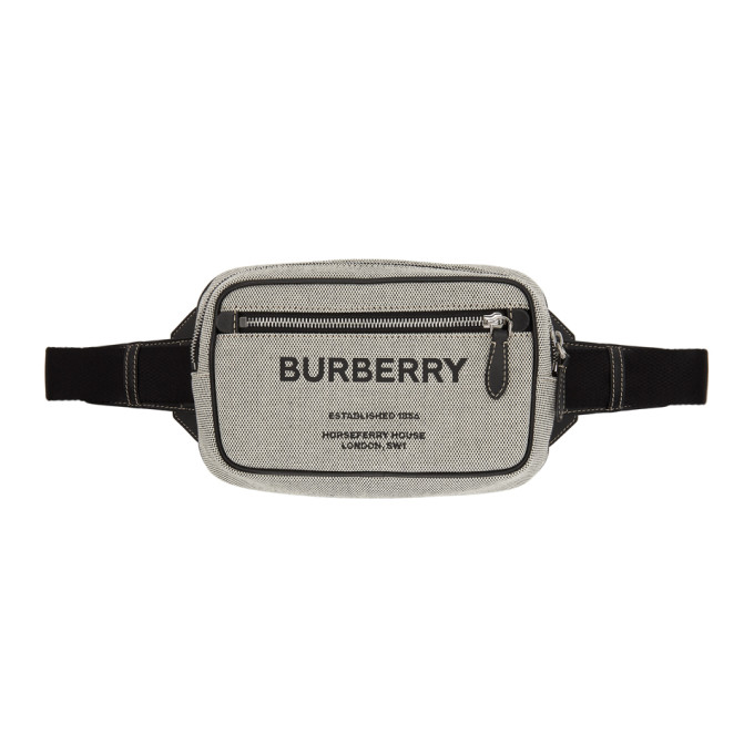 Burberry Leathers BURBERRY GREY CANVAS HORSEFERRY BUM BAG