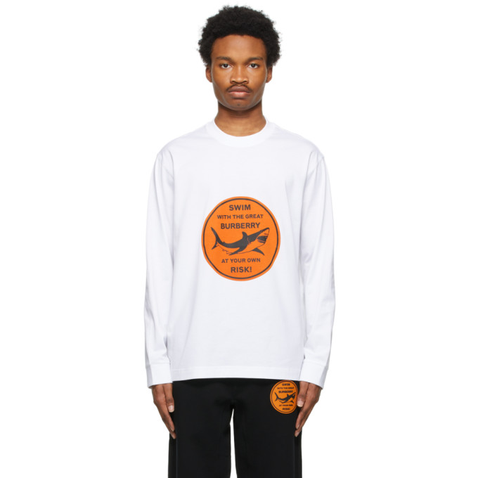 Burberry Cottons BURBERRY WHITE SHARK GRAPHIC LONG SLEEVE T-SHIRT
