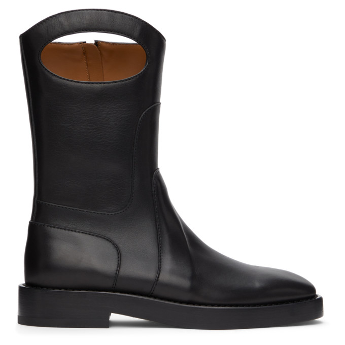 Burberry BURBERRY BLACK LEATHER POCKET BOOTS