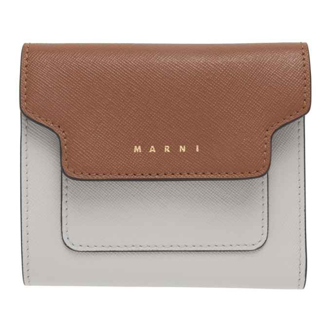 Marni Brown and Grey Square Flap Wallet  - buy with discount