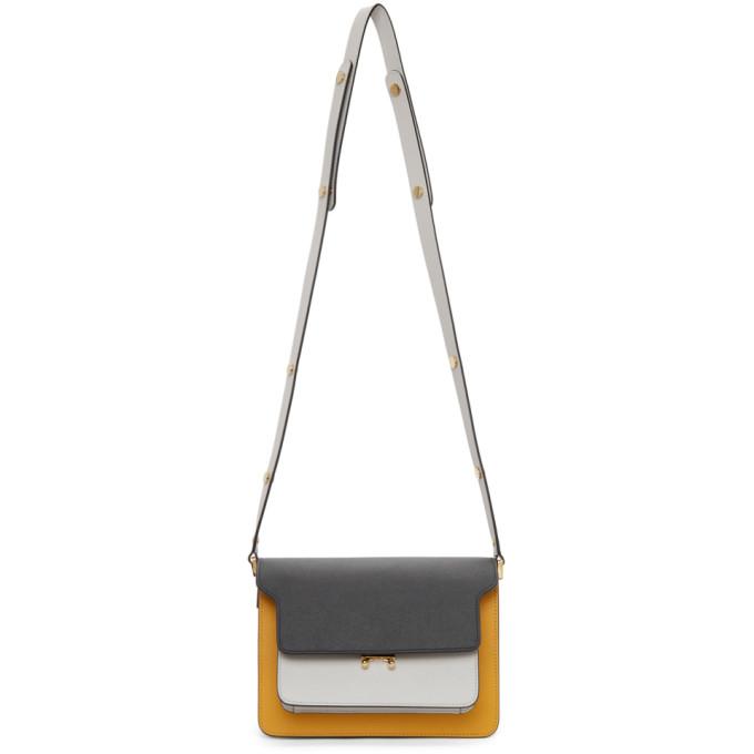 Marni Leathers MARNI BLACK AND WHITE SAFFIANO MEDIUM TRUNK BAG
