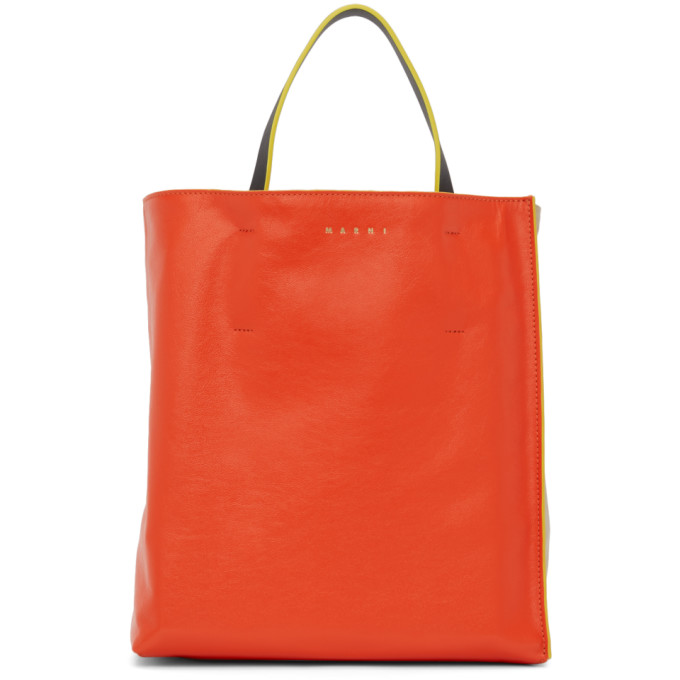 MARNI Bags MARNI RED AND BEIGE SMALL SOFT MUSEO TOTE