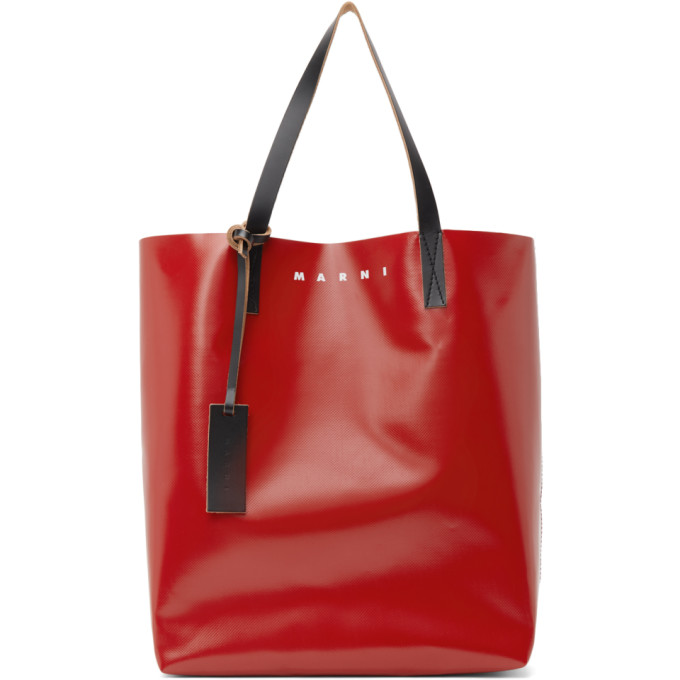 Marni Red & Grey Coated Canvas Shopping Tote In Z2m82 Red