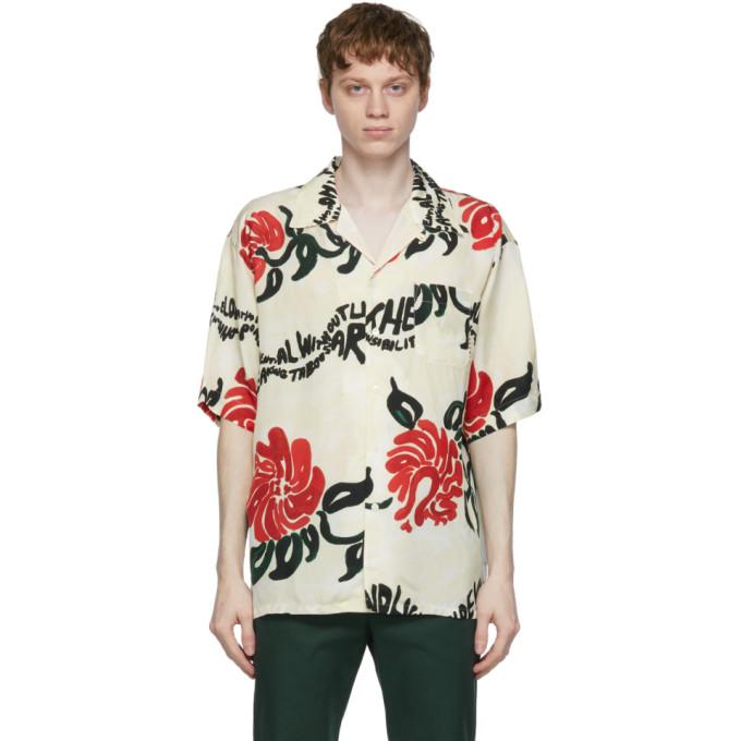 Marni Shirts MARNI OFF-WHITE FLORAL PRINT SHORT SLEEVE SHIRT