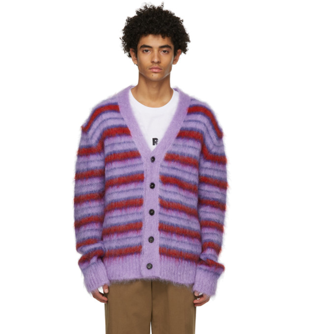 Marni PURPLE & RED MOHAIR CARDIGAN