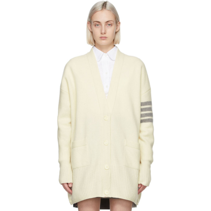 Thom Browne THOM BROWNE OFF-WHITE CASHMERE EXAGGERATED FIT 4-BAR CARDIGAN