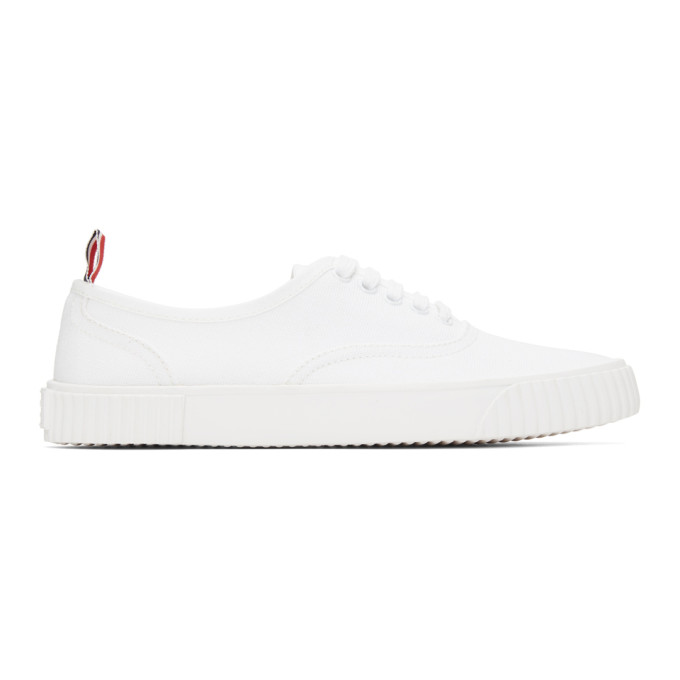 Thom Browne Canvases THOM BROWNE WHITE CANVAS VULCANIZED SNEAKERS