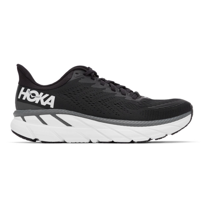 Hoka One One Clifton 7 Running Shoe In Black/white