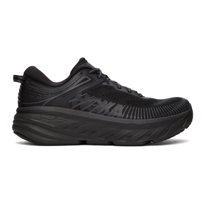 Hoka One One Knit-panelled Sneakers In Black