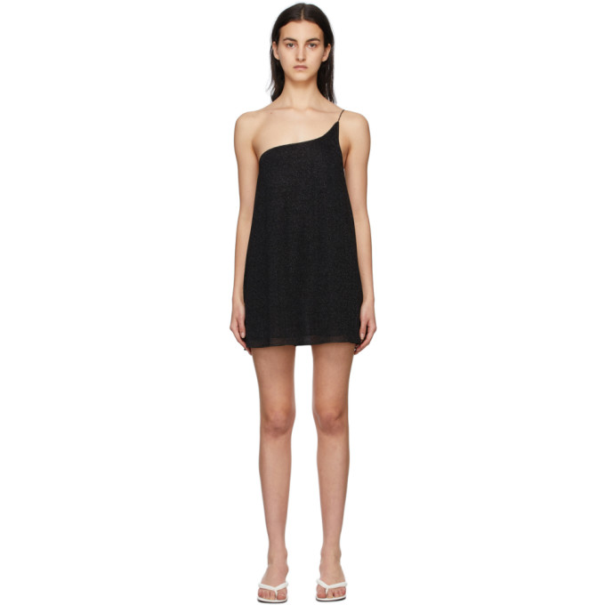 Oseree Linings OSEREE BLACK ONE-SHOULDER LUMIERE DRESS