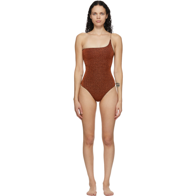 Oseree Brown One-Shoulder Lumiere One-Piece Swimsuit