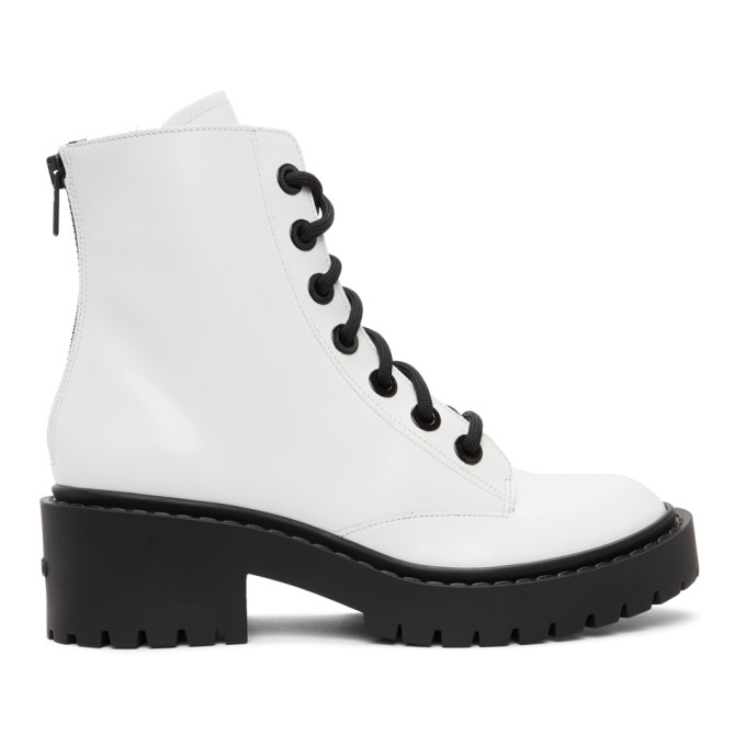 Kenzo KENZO WHITE PIKE LACE-UP BOOTS