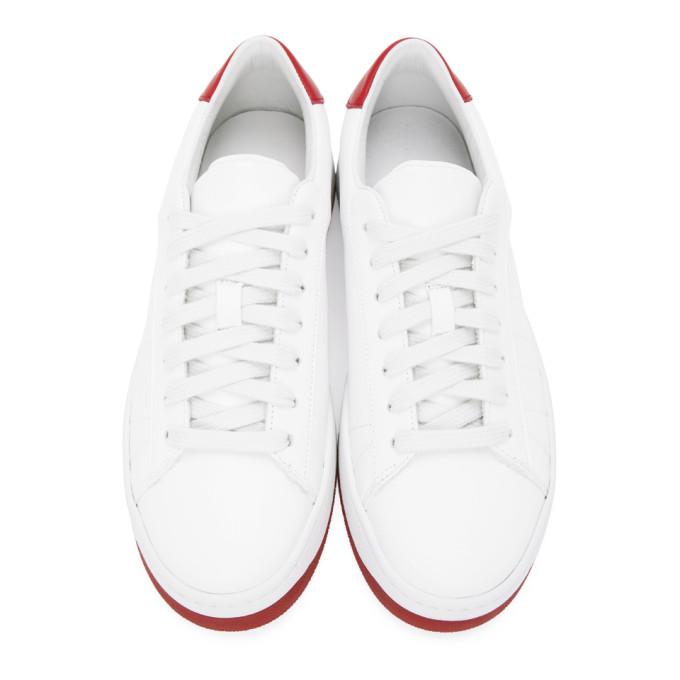 KENZO Leathers KENZO WHITE AND RED KOURT K LOGO SNEAKERS