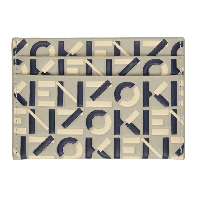 KENZO Cardholders KENZO GREY AND NAVY MONOGRAM CARD HOLDER