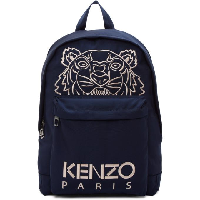 Kenzo Backpacks KENZO NAVY EMBROIDERED TIGER BACKPACK