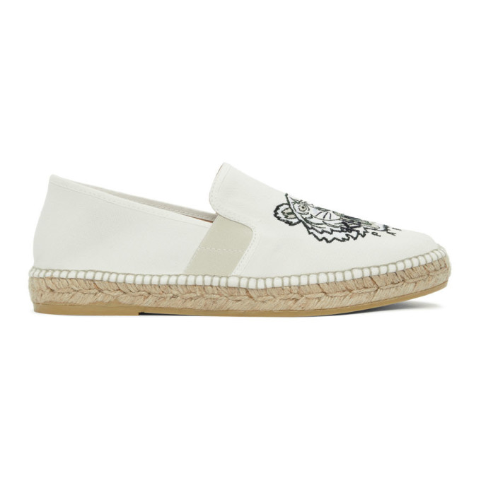 Kenzo Canvases KENZO WHITE CANVAS TIGER HEAD ESPADRILLES