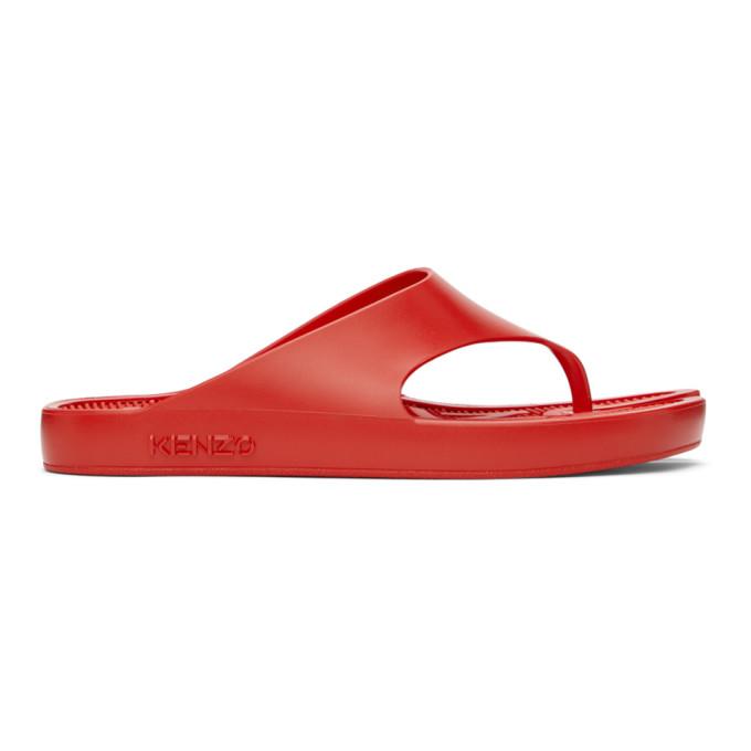 Kenzo KENZO RED K-BEACH FLIP FLOPS