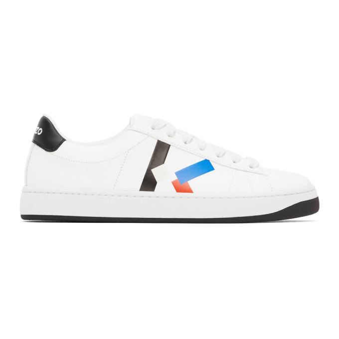 KENZO KENZO WHITE AND BLUE K-LOGO KOURT SNEAKERS